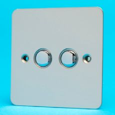 Varilight 2 Gang 2x6A 1 or 2 Way Push on/off Impulse Switch Ultra Flat Mirror Chrome XFCP2